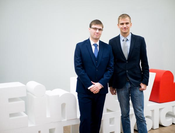 Andrei Sayansky (on the left) and his thesis advisor Stanislav Glybovsky (on the right)